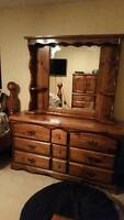 SOLID WOOD Large Dresser with 9 Drawers and Shelving unit Mirror