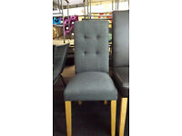 Ex-display 2x grey fabric dining chairs