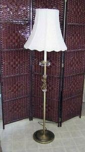 Gold Toned Floor Lamp with Cherub and Crystals