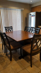Dining table set- 6 chairs and extendable Leaf