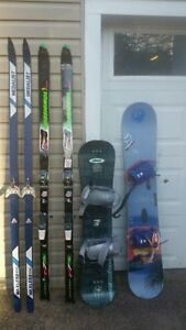 skies and snow boards
