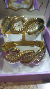 Golden watch set with crystals and 2 silver watches