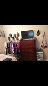 Dark Brown Bedframe and Matching Dresser