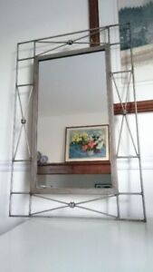 Iron Mirror with a Smooth Grey Antique Look Finish