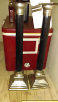2 Tall Black Candle Holders - $5 for the pair