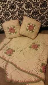 Beautiful crochet blanket with 2 accent pillows