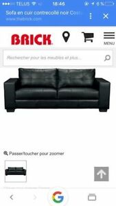 SOFA NOIR COSTA EN SIMILICUIR DE CHEZ BRICK - 350$ West Island Greater Montréal image 3