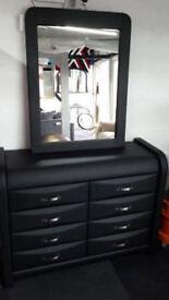 Leather 8 drawer Dresser & Mirror