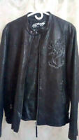 """Brand New- Ed Hardy MENS """"Kiss of death"""" leather jacket- RARE"""