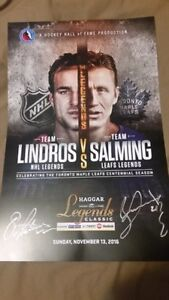 Hockey hall of Fame Lindros/Salming signed print