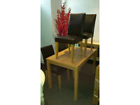 Ex-display Dining table & 4 leather chairs