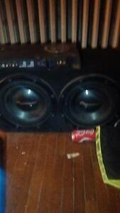 MOVING SALE !!!!!!!!!!!!!!!!!!!2 12 inch subwoofers,amp and deck