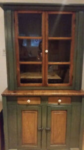 Primitive Quebec Flat to the Wall Kitchen Cupboard, Painted