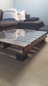 Unique Custom Rustic Wood Skid Glass Coffee Table
