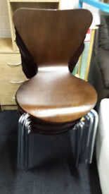 Walnut colour bent wood dining chairs