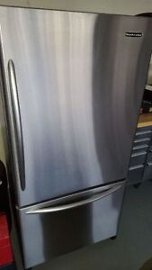 Kitchen Aid stainless steel fridge with ice maker