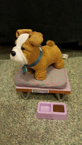"""American Girl Dog """"Meatloaf"""" with bed/food"""