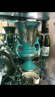 Haeger USA Blue Silver Overlay Double Handled Urn Vase