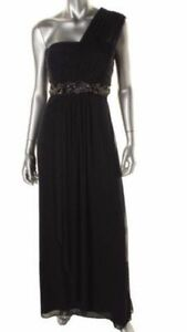 *New w/Tags* Navy Chiffon One Shoulder Evening Gown