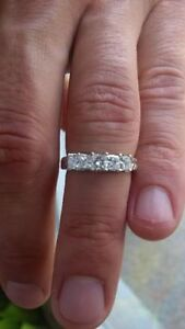 Beautiful Five-Stone Diamond Ring With Etched Band, Size 7