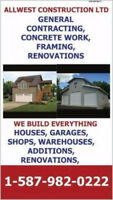 GENERAL CONTRACTING,  CONCRETE WORK, SHOPS, GARAGES, FRAMING