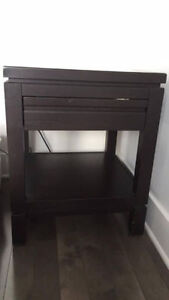 BEDSIDE TABLE - 1 DRAWER & BOTTOM SHELVE - DARK BROWN EBONY WOOD