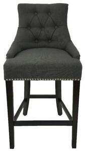 Tufted BarStool n Counter Stool in Charcoal Linen Fabric