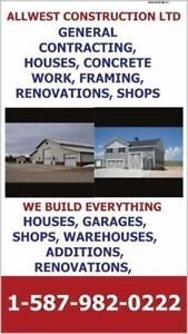 GENERAL CONTRACTING, SHOPS, GARAGES, CONCRETE WORK, CUSTOM HOMlE