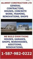 GENERAL CONTRACTING, CONCRETE WORK, SHOPS, GARAGES, HOUSES, RENO