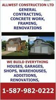 CUSTOM HOMES, GARAGES, SHOPS, RENOVATIONS,FRAMING, CONCRETE WORK