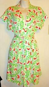 VINTAGE BATHING SUIT COVER UP Green Red Medium 36 38 ROBE LIGHT
