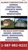 GENERAL CONTRACTING, CUSTOM HOMES, CONCRETE WORK, FRAMING, BASEM