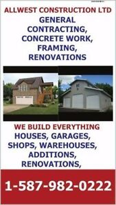 WE BUILD GARAGES AND COMPLETE SHOPS, GENERAL CONTRACTING, RENOS