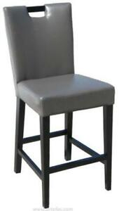 Grey, Black n Brown Handle Back Leather Bar Counter Stool