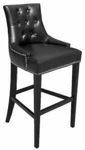 Black Tufted Leather Kitchen Counter Stool w/Silver NailHead on Clearance