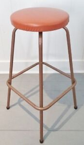 Retro ORANGE RUST Bar Stool Chair Antique VINTAGE