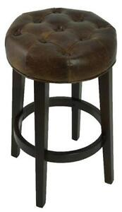 TopGrain Leather Swivel Tufted Backless Counter Stool in 2 color