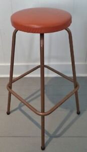 RETRO Burnt ORANGE Bar STOOL Chrome VINYL Antique Vintage