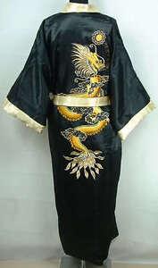 Double-Face Chinese Silk Men's Kimono Robe Gown Bathrobe Dress  M L XL XXL XXXL