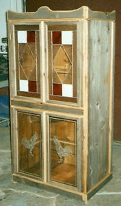 Barn Wood Cabinet With Stained Glass& Etched Doors.