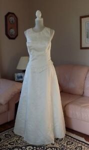 REDUCED Embroidered Bridal Gown with keyhole back, Ivory satin