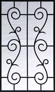 Two Wrought Iron 1/2-Lite Decorative Glass Door Inserts