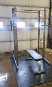 Commercial squat rack with pull up bar bench set up
