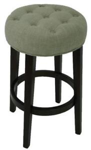 Tufted Backless Counter Stool in Charcoal or Tan Fabric