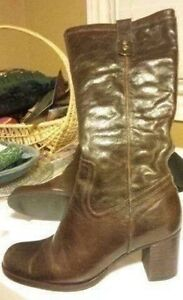 Brazilian 100% leather brown tall boots