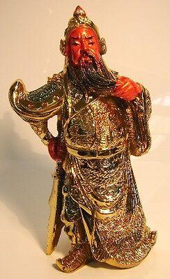 Gold Guan Gong, Guan Yu, Kwan Kong, Kuan Kong or Kong Chang w/ Guan Dao Sword