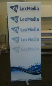 Event banner with carrying case, base, stand, and blank canvas