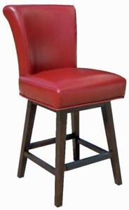 Red RollBack Swivel Leather Counter Height Stool