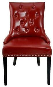 Red Accent Tufted Leather Dining Room Chair