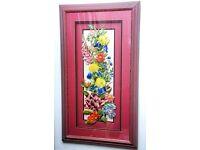 "Pink flower framed Decoupage 17"" by 30"" £7.50"